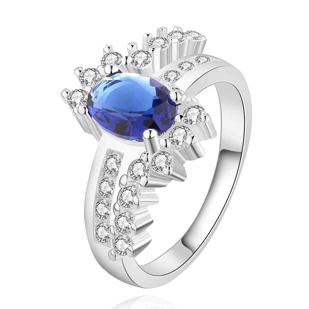 Nueva llegada 2016 EE. UU. Estilo Europeo moda Chapado en plata piedra azul anillo uj joyería al por mayor SMTR508