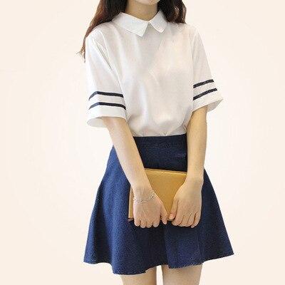 Японская школьная форма с короткими рукавами, матросское платье для девочек, синяя клетчатая юбка в тибетском стиле, японские и корейские к...