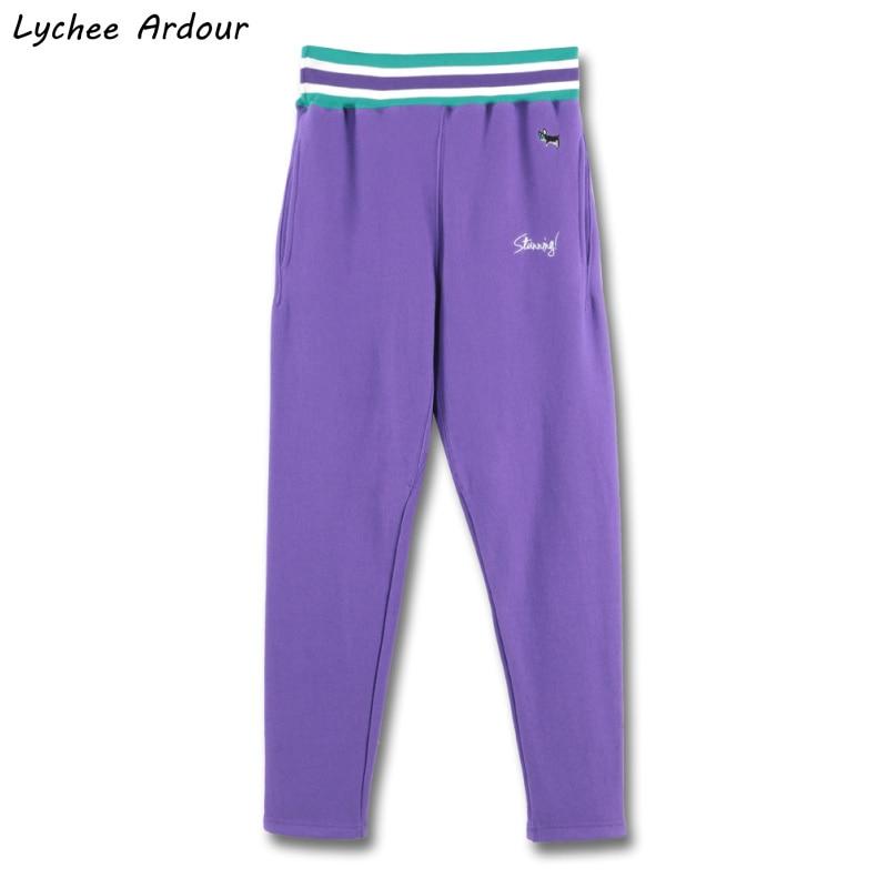Повседневные штаны с вышивкой в виде букв животных, эластичная талия, длинные брюки с карманами, свободные брюки унисекс