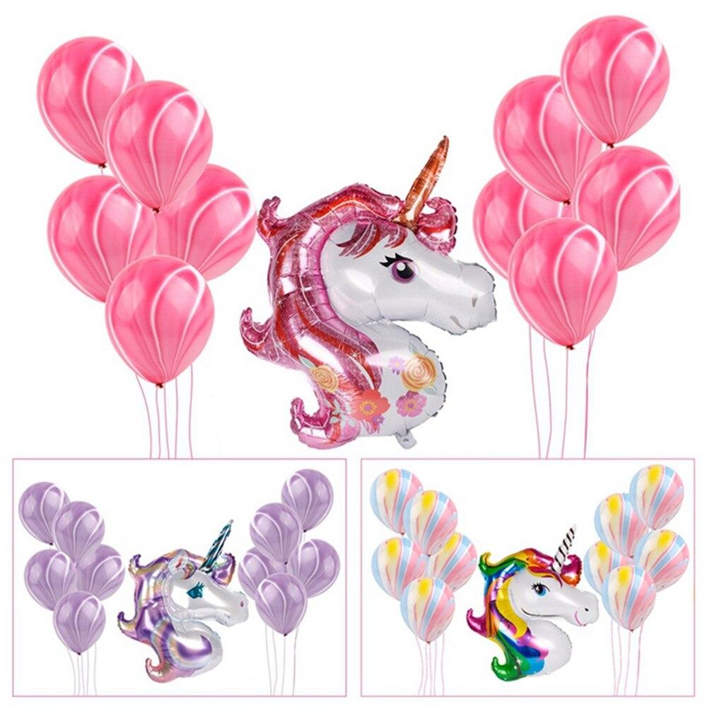 11 Uds globos de unicornio fiesta de cumpleaños Rosa Arco Iris globo ágata fiesta de los niños regalos Baby Shows telón de fondo decoración sombrero de dibujos animados