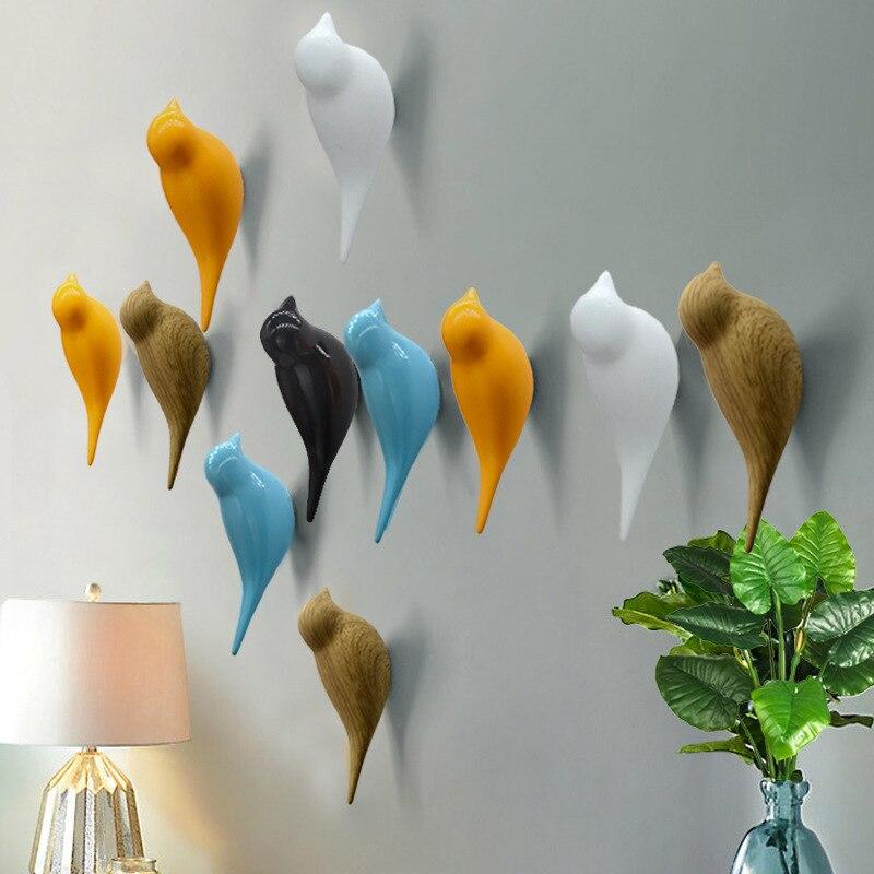 1 Uds. Gancho colgante creativo para colgar en la pared del hogar con decoración de pájaros ganchos para colgar en la puerta gancho de capa tridimensional regalo de resina Simple moderno