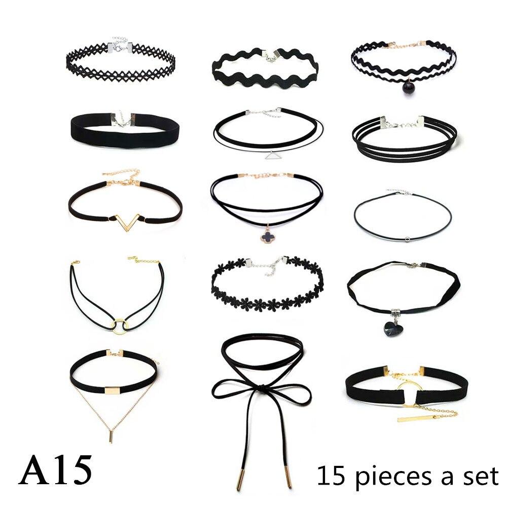 ZOEBER 15 Pcs a set Choker Necklace Black Lace Leather Velvet strip woman Collar Jewelry Neck accessories chokers colar kolye