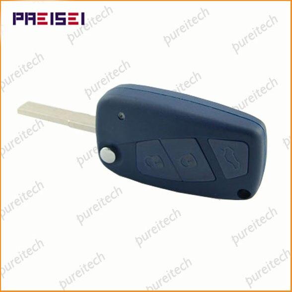 Clé PREISEI à 3 boutons de voiture   Bleu, clé à rabat de voiture pour télécommande Fiat, porte-clés de remplacement avec batterie Logo sur le côté