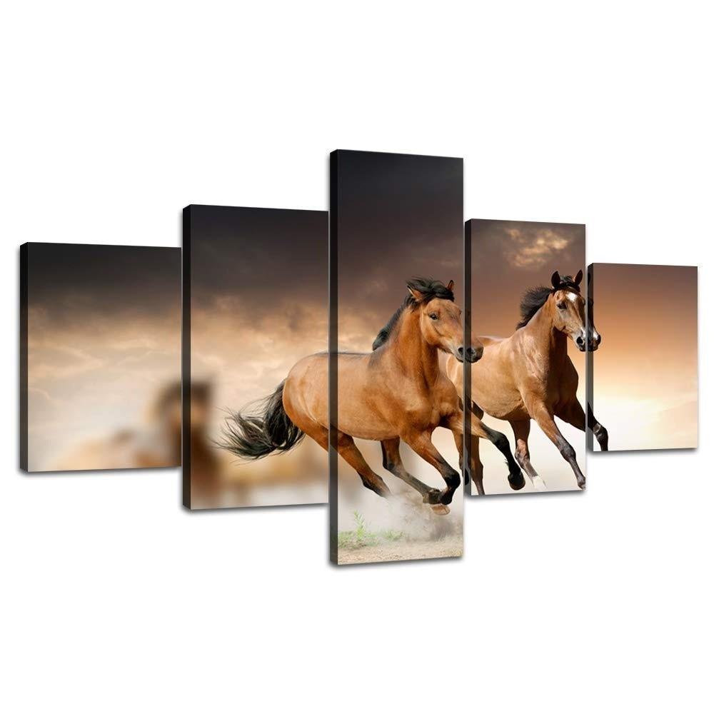 5 piezas grandes impresas pintura al óleo caballos corriendo lienzo impresión arte moderno hogar Decoración pared arte cuadros para sala de estar