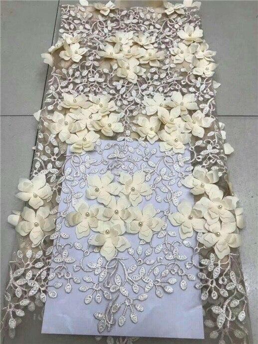 Applique de La Flor de 3D bordado tela con encaje de red francés con cuentas de África India 3D gasa encaje boda de Nigeria cuentas cordones Material
