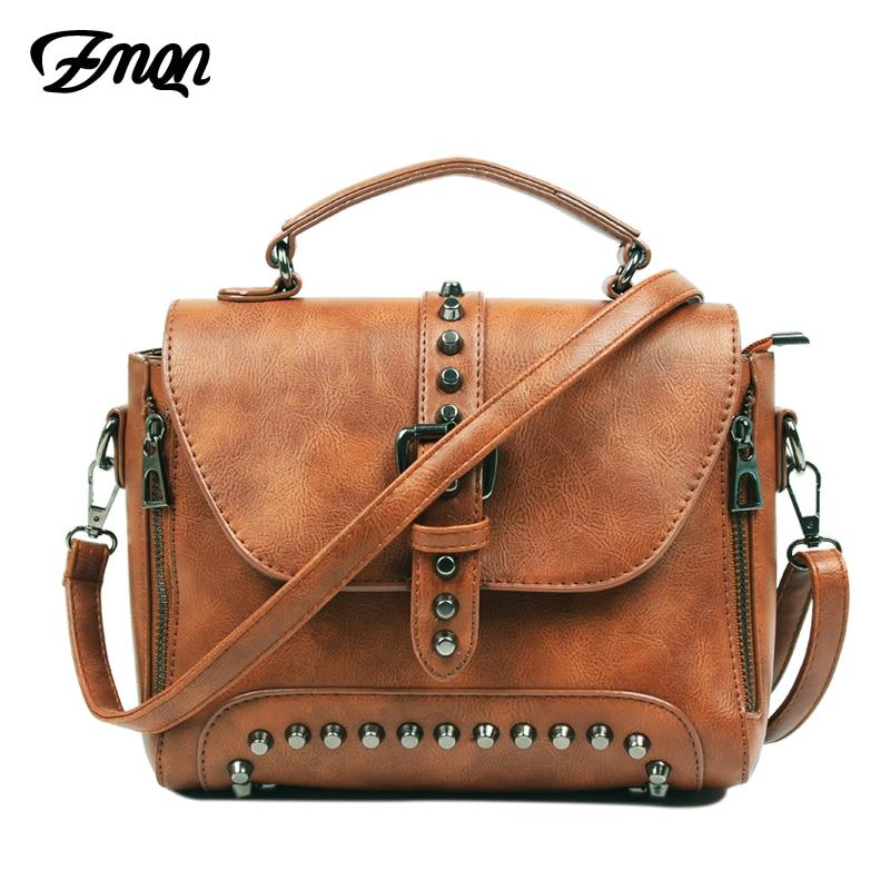 ZMQN Crossbody Bags For Women 2020 Shoulder Bags Female Vintage Leather Bags Women Handbags Famous Brand Rivet Small Ladies A522