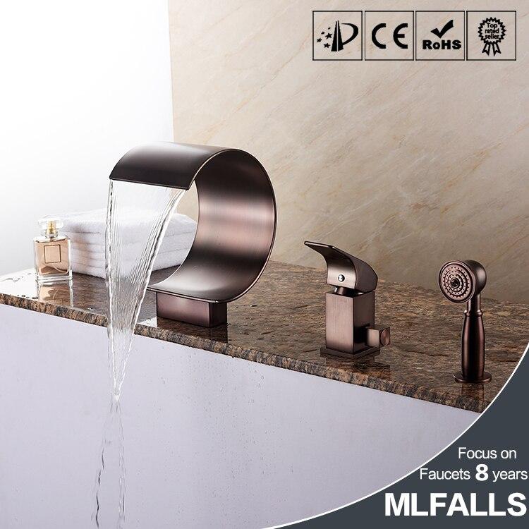 Tubo especial LED/cascada/ducha de mano incluido con válvula de cerámica 1 manija 3 agujeros para grifo de bañera ORB