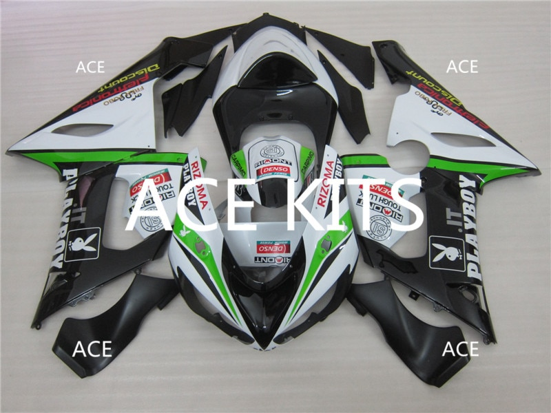 3 regalos gratis nuevo Kit de carenados ABS 100% apto para Kawasaki ZX6R ZX-6R 05 06 Ninja 636 2005-2006 6r blanco negro 3ll