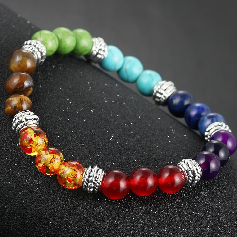 DIEZI New Men Women 7 Chakra Bracelets Bangle Colors Mixed Healing Crystals Stone Chakra Pray Mala Bracelet Jewelry