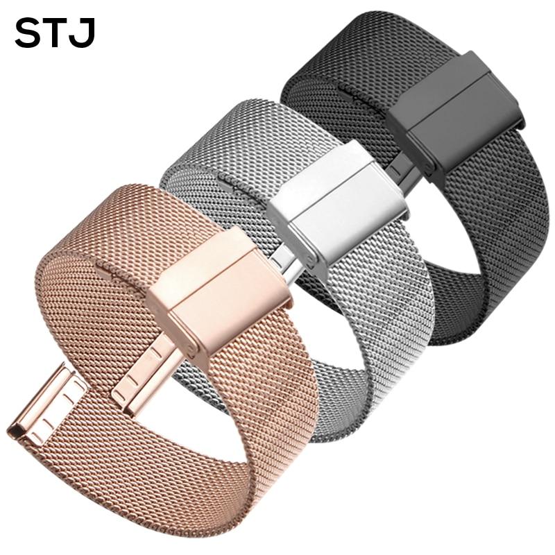 STJ Marke Edelstahl Strap 16mm 18mm 19mm 20mm 22mm Armband für Samsung Galaxy Uhr 42mm 46mm Milanese Metall Armband