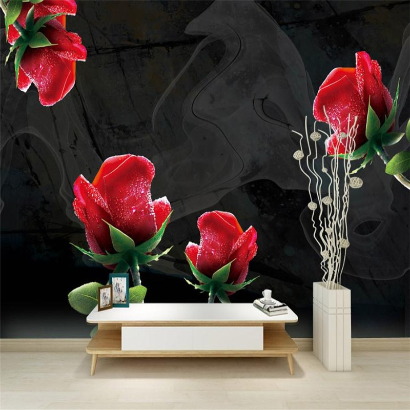 Papel pintado de flores negras y rosadas papel pintado personalizado con foto en 3 d para paredes papel tapiz de pared de salón moderno de escritorio decoración de pared de cocina casa