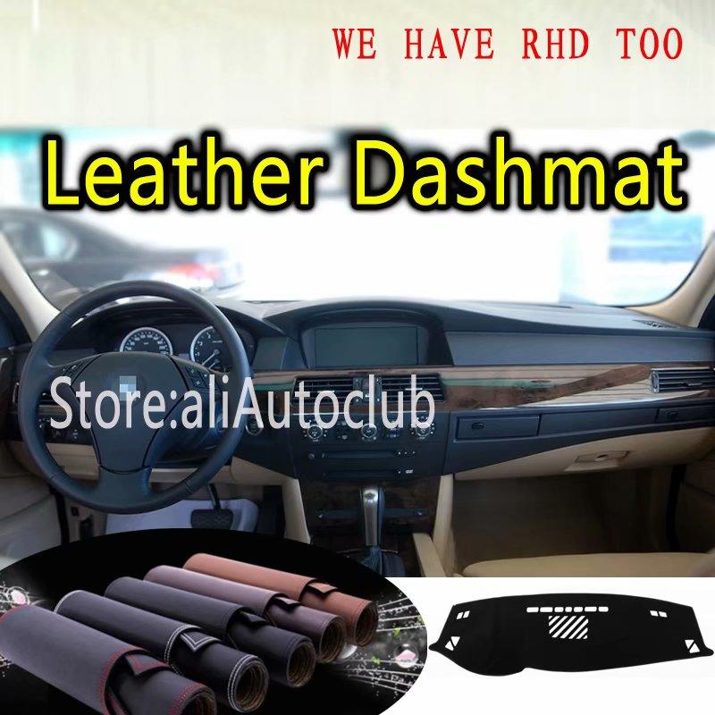 Para BMW E60 5 Series Touring vagon E61 520i 523i 525i 530i Funda de cuero para salpicadero alfombra personalizada para coche