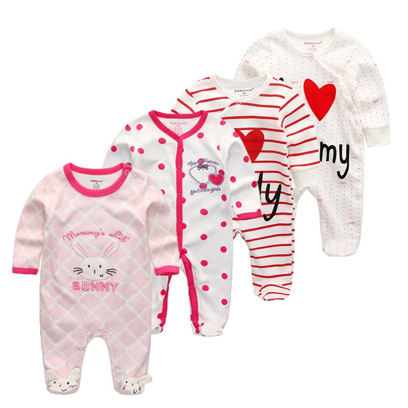 4pcs/lot newbron Baby footed romper cartoon baby boys girls clothing overall baby Sleepwear baby warm outfit