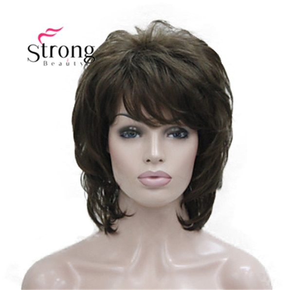 StrongBeauty قصيرة لينة منفوش الطبقات البني الكلاسيكية كاب شعر مستعار اصطناعي المرأة خصلات الشعر المستعار اللون الخيارات