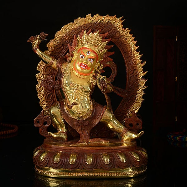 Buda al por mayor 25CM talismán casero protección eficaz Budismo Tibetano KAIGUANG Vajrapani estatua de figura de Buda bañada en oro