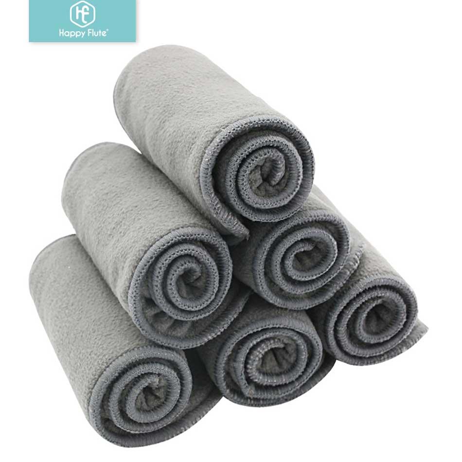 Подгузники для детей Happy Flute, 10 шт., высококачественные подгузники из бамбукового дерева, вкладыши для подгузников, тканевые подгузники для детей, моющиеся 4-слойные подгузники