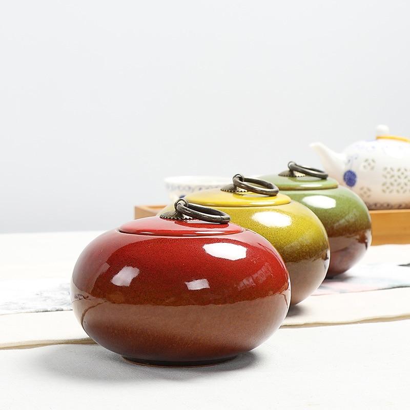 PINNY 450ML Variable Glaze CeramicTea Caddy Portable Travel Tea Storage Tea Ceremony Accessories Vintage Sealed Jar High Quality