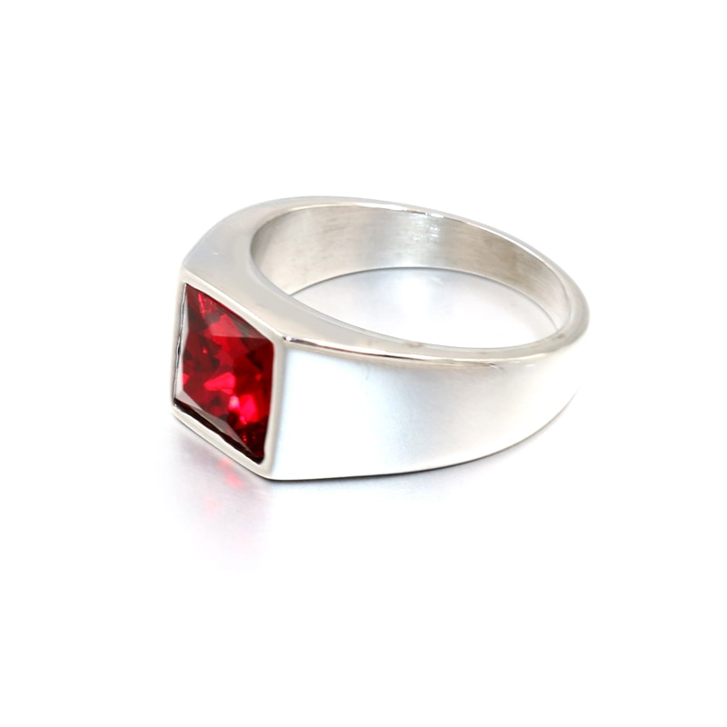 Женское и мужское кольцо с красным, синим, черным камнем, драгоценным камнем, Винтажное кольцо из нержавеющей стали серебряного цвета, кольц...