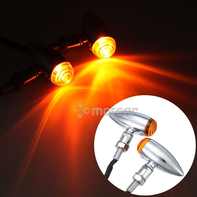 2x Mini Luz de señal intermitente tipo bala luz intermitente ámbar indicadora 10mm ajuste para Harley Choppers métrico Bobber Cruiser