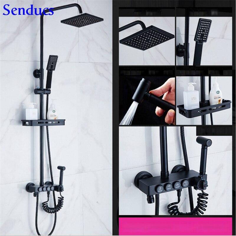 Senducs الأسود دش ثرموستاتي مجموعة 38 درجة الحرارة أدوات دش الحمام الأسود بيديه للحمام النحاس الحمام دش مجموعة