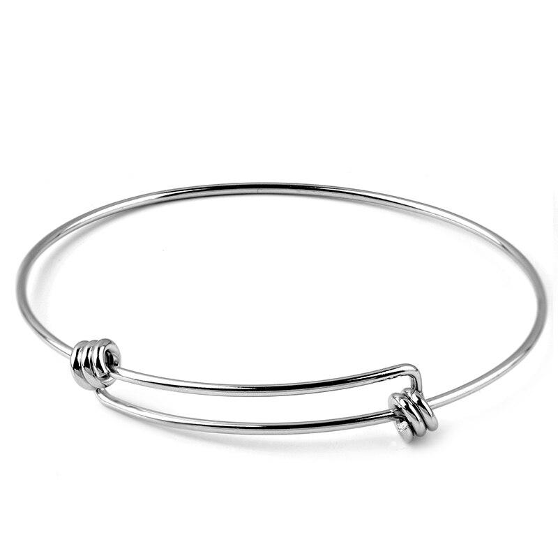 Bracelet en métal en acier inoxydable pour hommes et femmes extensible, 2 pièces, accessoire de Base ajustable, vierge, bricolage, Bracelets porte-bonheur