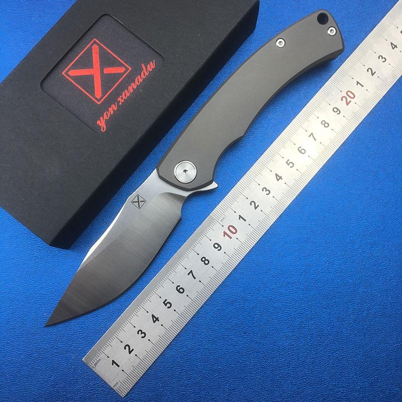 LEMIFSHE YX-650 cuchillo plegable abatible titanio mango de aleación D2 hoja de rodamiento de cerámica caza Camping EDC herramienta de supervivencia