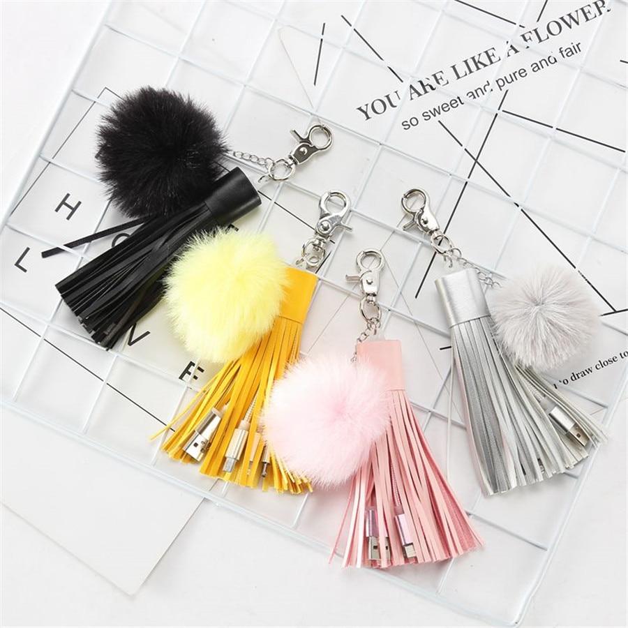 Multifuncional usb trançado cabo carregador saco pingente borla inchado bola chaveiro acessórios pompom jóias decorativas charme bp01