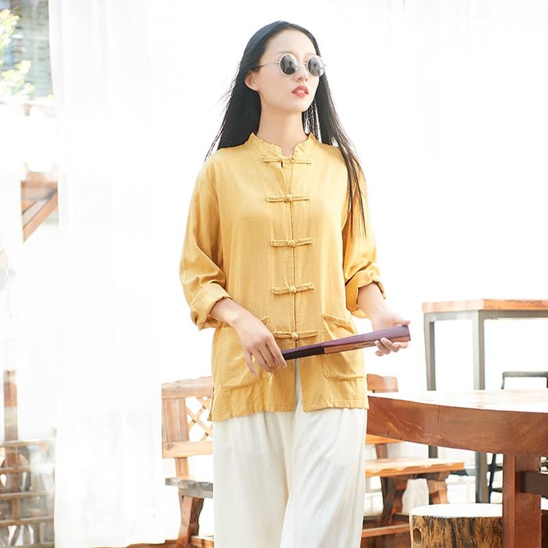 Blusa de lino estilo chino original, blusa suelta Vintage de manga larga para mujer, blusa informal de otoño 2018, blusas B226