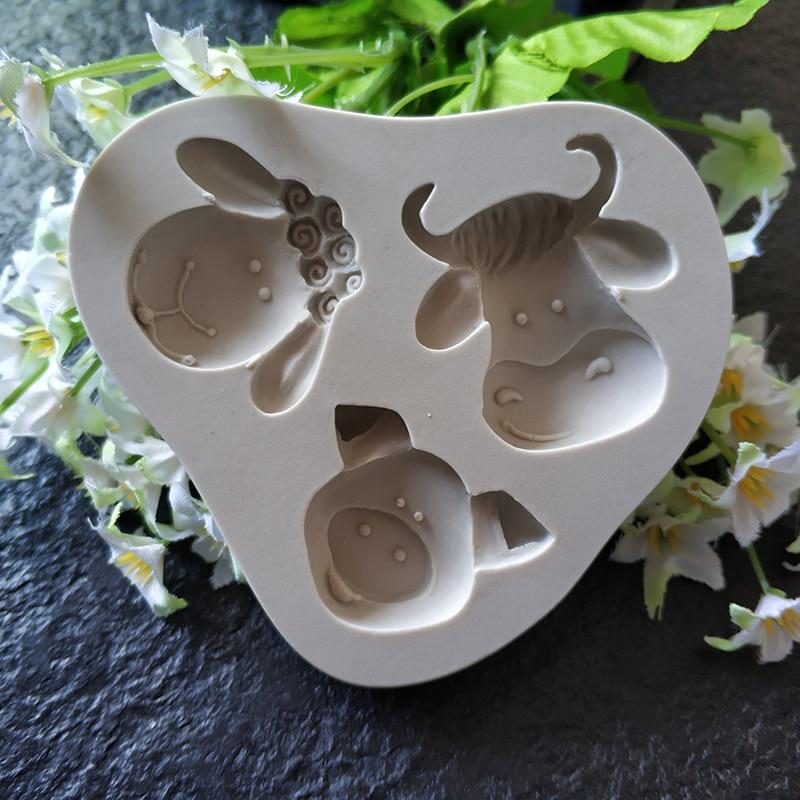 Moule en forme de tête de vache silicone   Gâteau au chocolat, outil de décoration 3 pièces, moule de tête de taureau de dessin animé, moule dargile,