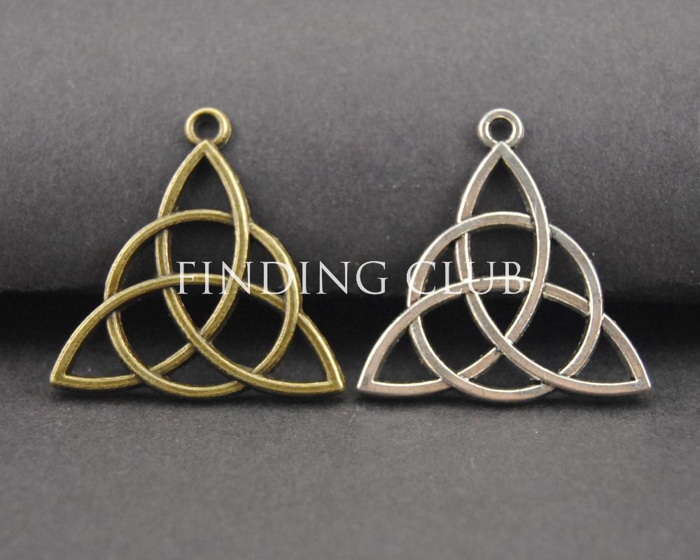 30 pçs 2 cores nó triquetra encantos pingente pulseira de metal colar jóias descobertas a107/a313