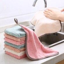 Chiffon de nettoyage de cuisine en microfibre   Super absorbant, chiffon de cuisine en molleton de corail suspendu, vaisselle serviette de vaisselle, Kichen chiffon outils, Gadgets AT19