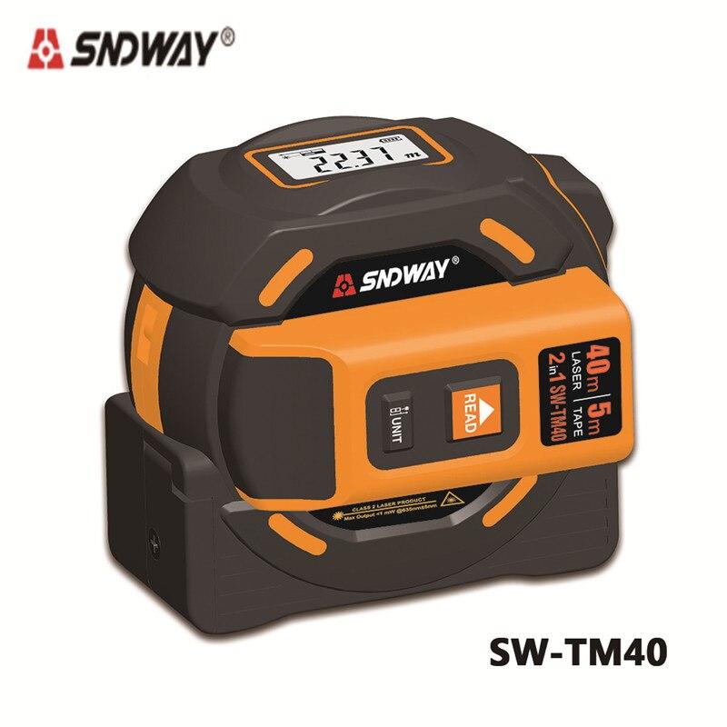 SNDWAY 40 m 60 m laser medidor de distância a laser range finder fita métrica retrátil digitais 5 m telêmetro a laser Governante ferramenta de pesquisa