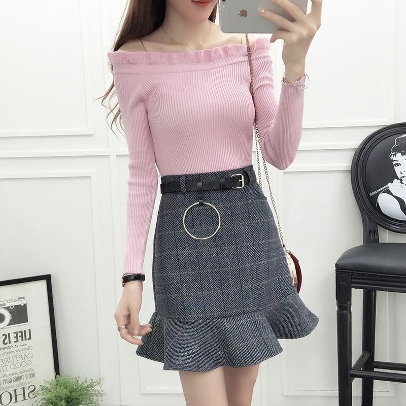 Moda coreana sexy negro hongo palabra collar tejido cola de pez faldas de tela de lana traje de dos piezas mujeres ropa conjunto vestidos