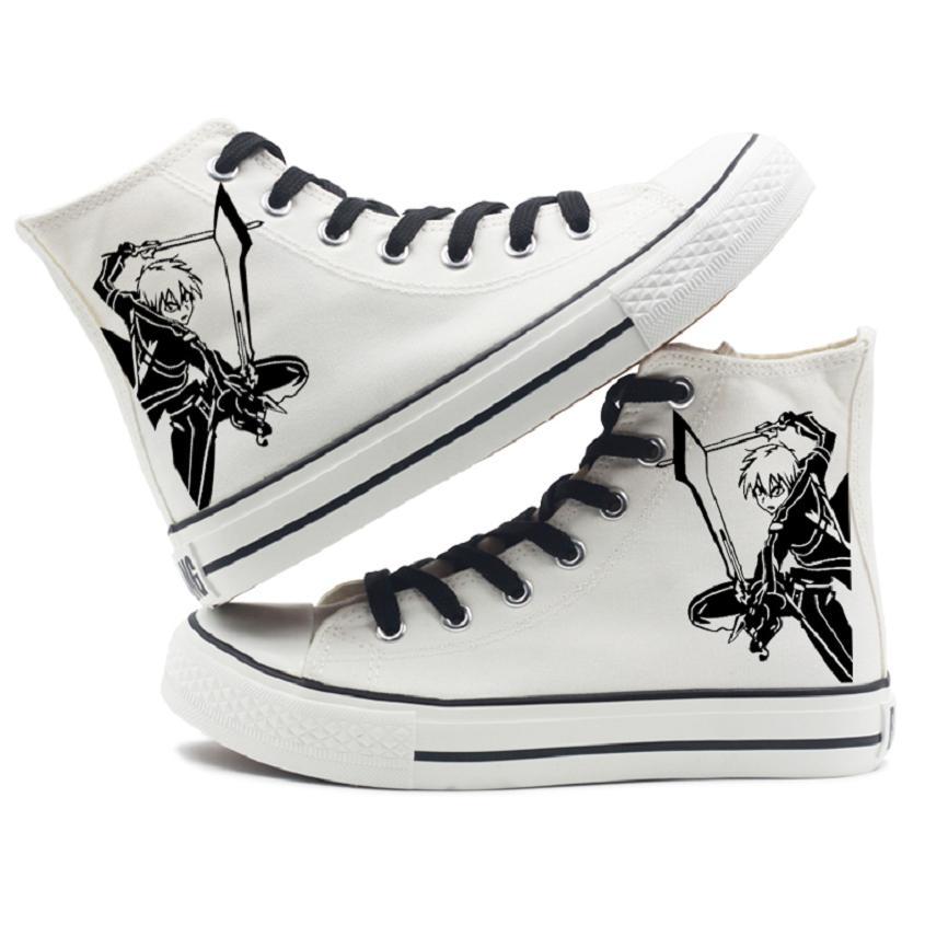 Alto-Q Unisex Anime Cos Sword Art en línea Kirigaya Kazuto Kirito estudiante Casual zapatos de lona