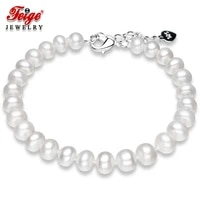 feige genuine 6 5 7 5mm natural freshwater pearl bracelet for women classic style wedding dress jewelry hand chain genuine pearl
