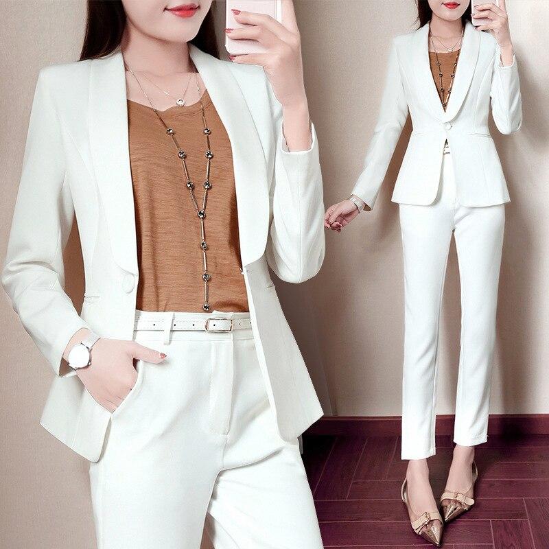 Set Femenino Profesional casual pequeño traje pies pantalones de dos piezas de moda 2018 nuevo otoño temperamento blanco elegante salvaje set