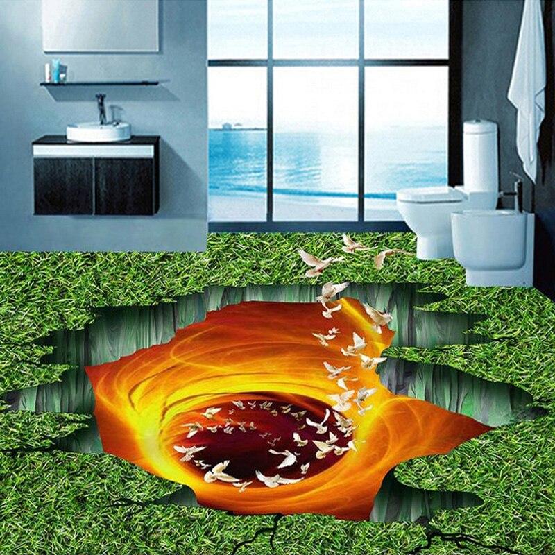 Papel pintado de suelo personalizado 3D sala de estar dormitorio baño suelo Mural pinturas de Lava volcánica pradera PVC papel pintado autoadhesivo