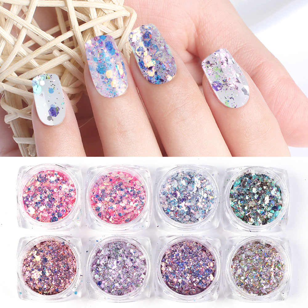8 Box Set Sparkly Mermaid Powder Nail Glitter Sequins Manicure 3d Hexagon Flakes Paillettes Holo Nail Art Decorations Tr1506 08 Nail Glitter Aliexpress
