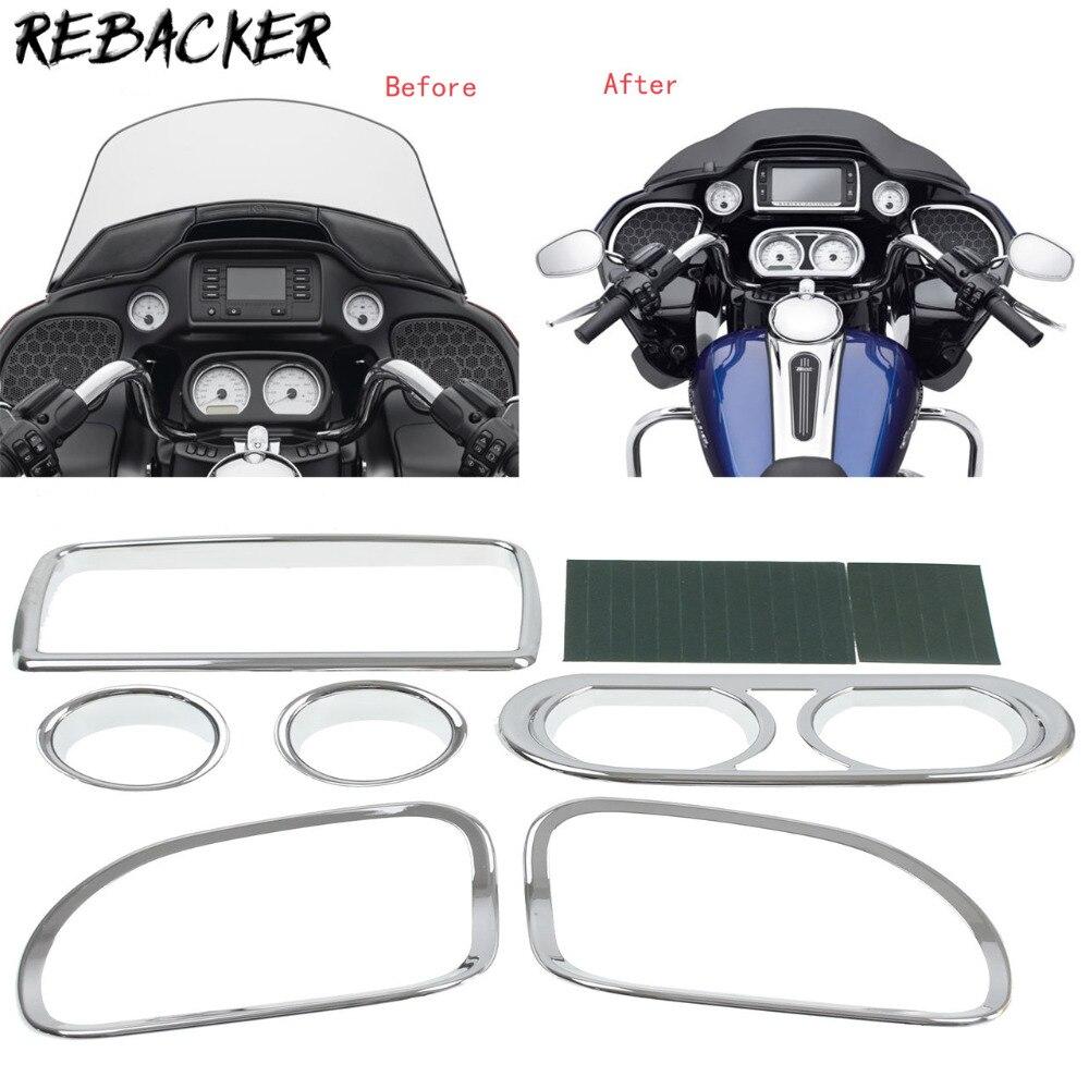 6 Pcs Chrome Motorrad Verkleidung Tacho Radio Lautsprecher Trim Kit fall für Harley Road Glide FLTRX FLTRXS 2015 2016 2017