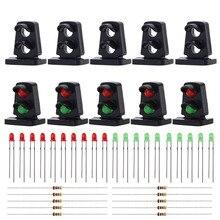 Jtd21 10 세트 led가있는 대상 얼굴 철도 난쟁이 신호 ho oo scale 2-light 지상 신호 신호등 빨강/녹색