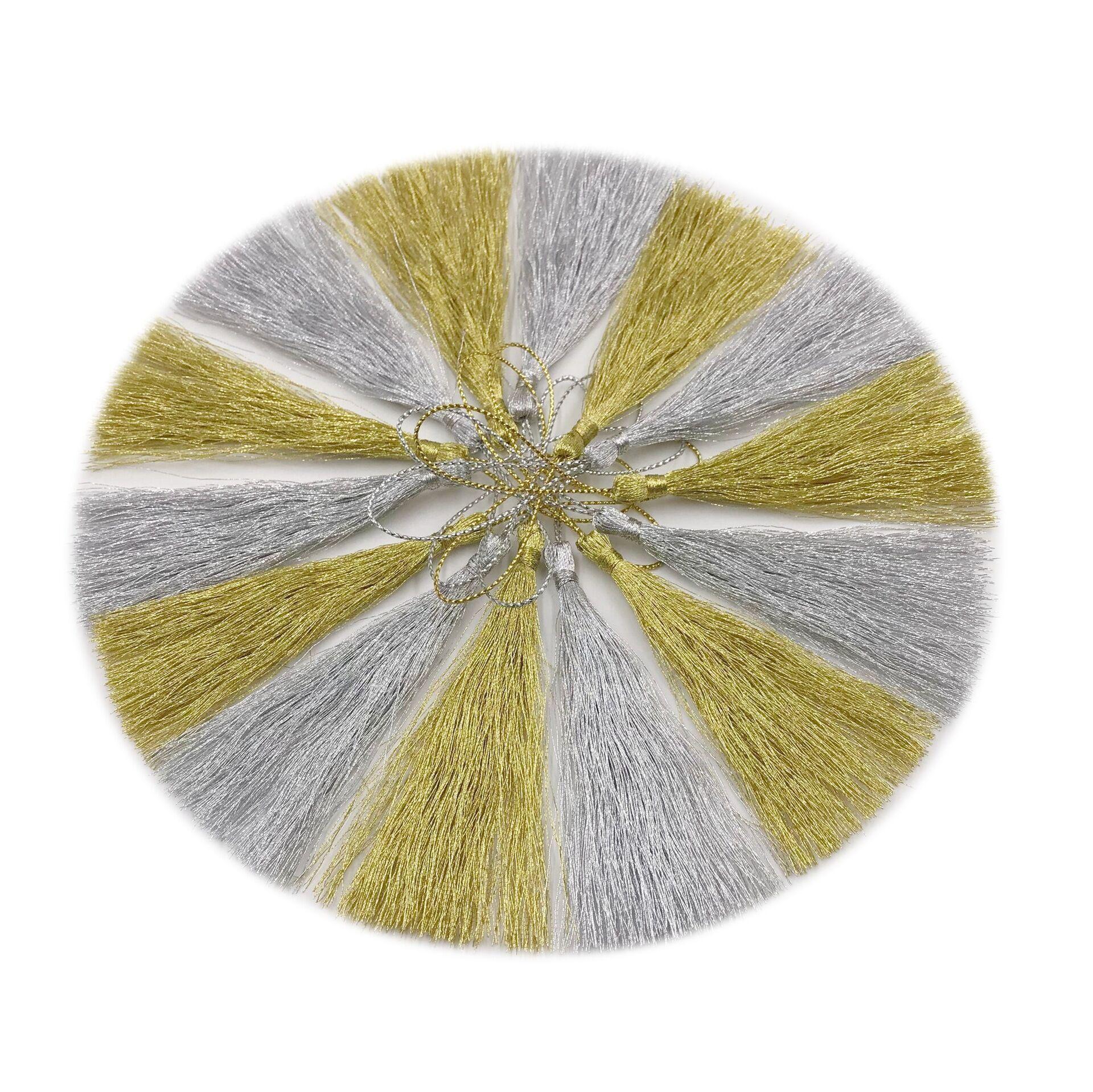 20 piezas oro seda plata seda borlas colgante joyería cortina ropa accesorios decorativos llavero colgante artesanía borlas DIY