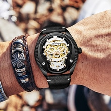 Gold-plated skull luminous hand watch men mechanism automatic wrist watch auto light hollow skeleton watch leather man 2019