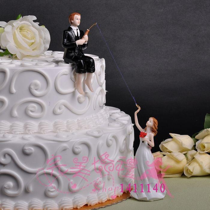 Frete grátis Do Noivo Noiva Pesca Do Bolo de Casamento Casal Topper para bolo de casamento decorações suprimentos