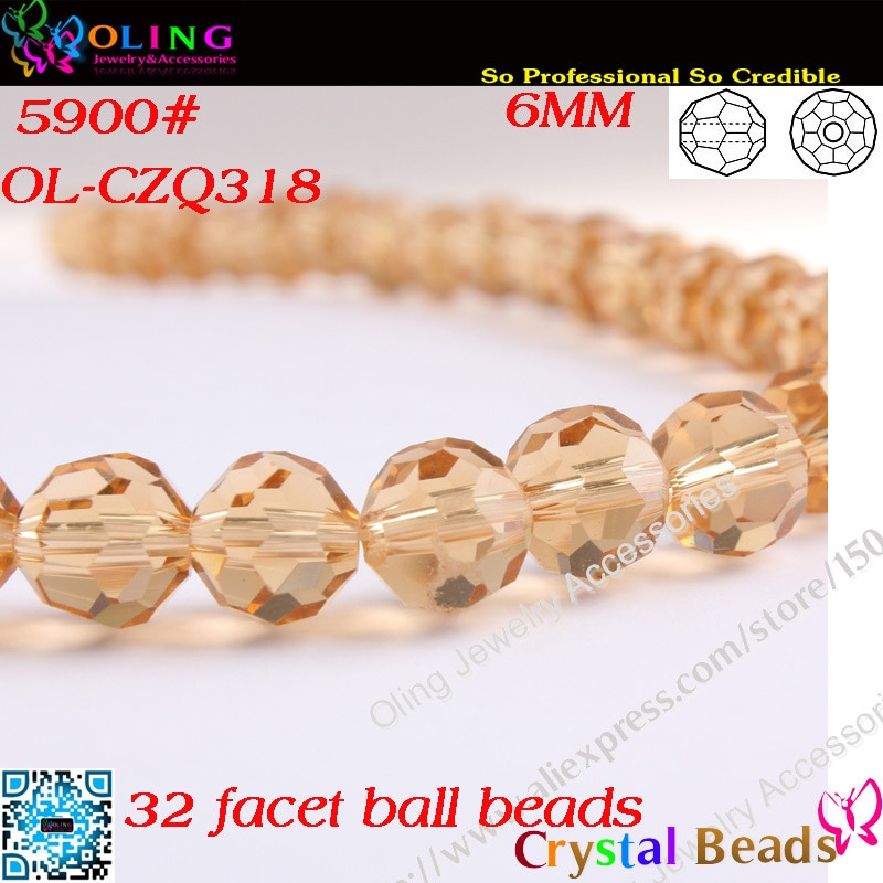 6MM perla 100 unids/lote luz Colorado color humo de cristal facetado de cristal de perlas redondas perlas para joyería DIY