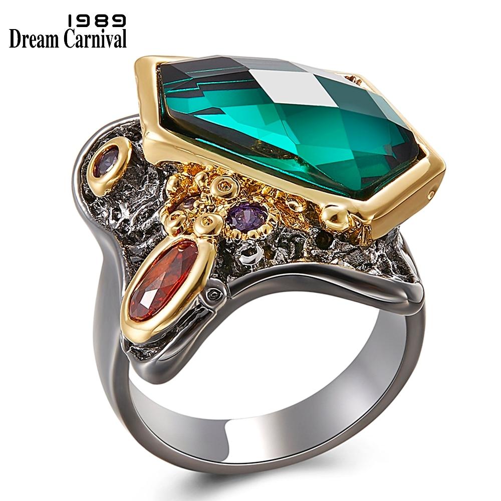 DreamCarnival 1989 Fancy Cut Zircon Ring for Women Wedding Party Multi-Colors Stunning Fashion Jewelry Black Gold Rings WA11554