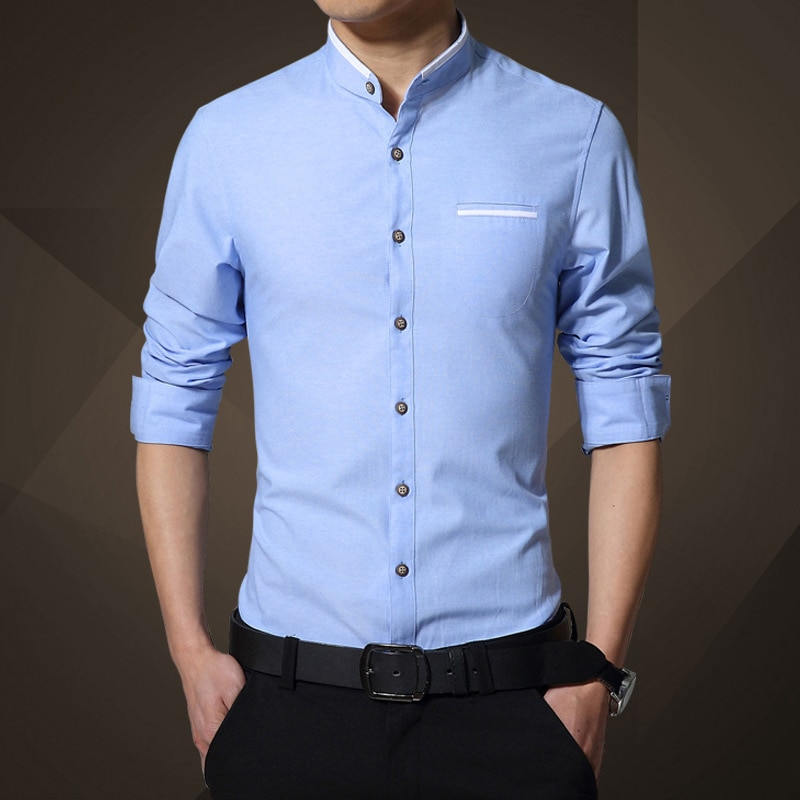 Camisa de talla grande 5XL de manga larga para hombre, camisas ajustadas de cuello mandarín para negocios para hombre, ropa azul Primavera Verano 2020 para hombre
