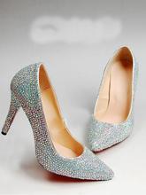 2018 Spring Pointed Toe Rhinestone Bridal Dress Pump Shoes 10cm Heel Wedding Dress Shoes Glitter Silver Lady Nightclub Shoes