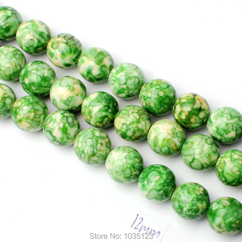 High Quality 12mm Pretty Round Shape Mixed Color Stone DIY Loose Beads Strand 15