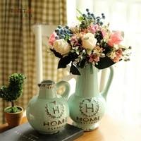 ceramic blue mediterranean retro flowers vase pot home decor crafts room wedding decorations objects porcelain vintage figurine