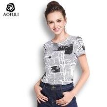 L~ 3XL Newspaper letters Print Pattern Cotton Tee Shirt Women Summer White Tops Short Sleeve Casual T-shirt AOFULI A3598